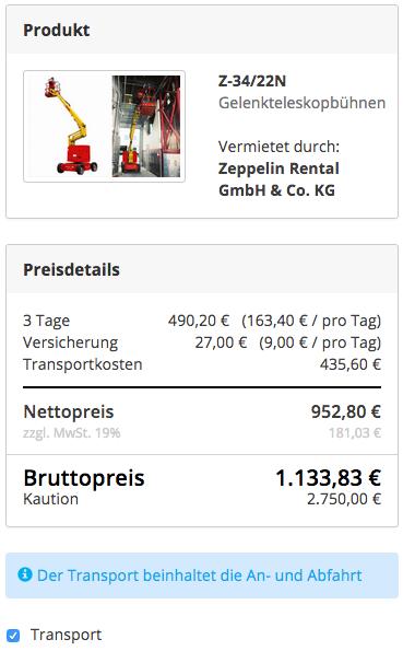 Preisdarstellung mit Transportkosten